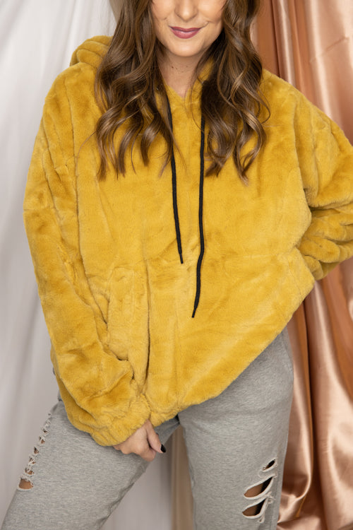 Holding Out Yellow Faux Fur Hoodie