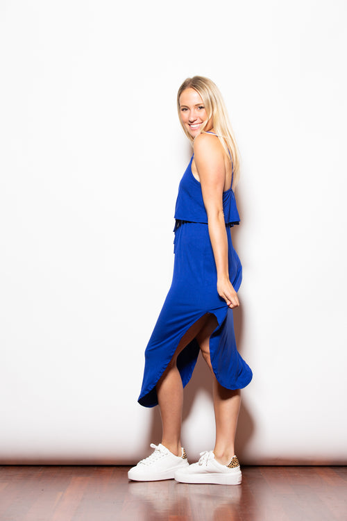 Take Notice Blue Drawstring Dress