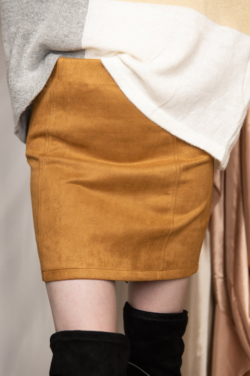 More To This Suede Mini Skirt: Tan
