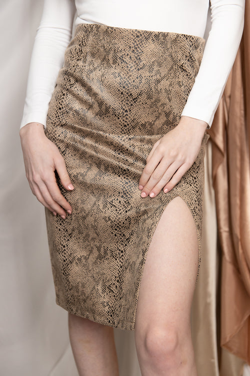 Caught In The Middle Suede Snake Skin Pencil Skirt
