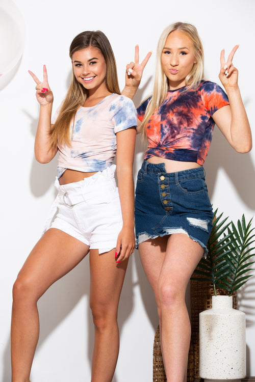 175535224b Come and Get It Tie Dye Crop Tee Red - impromptu boutique