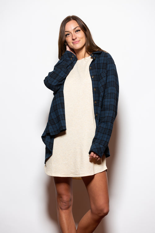 Nothing To Lose Dark Blue Oversize Flannel