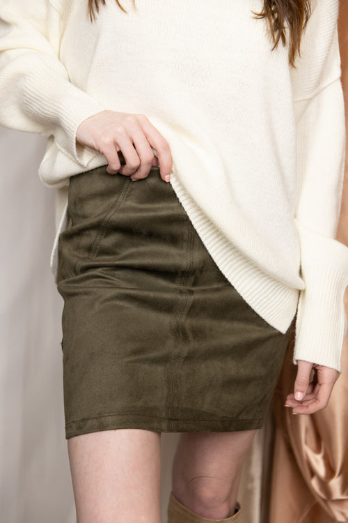 Forgive And Forget Olive Suede Mini Skirt