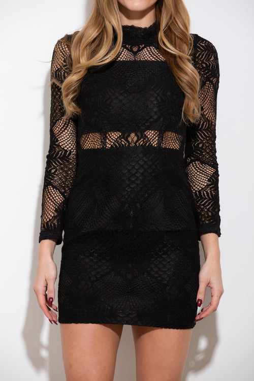 Way Up We Go Black Lace Dress