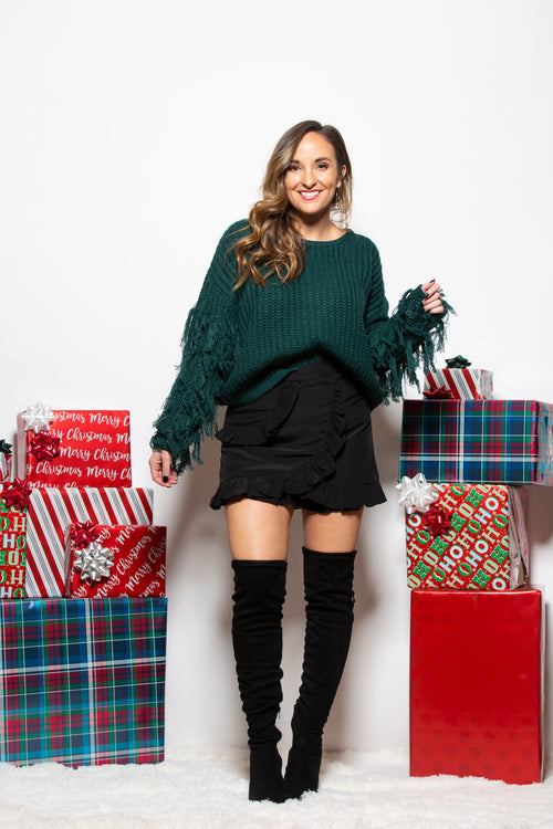 Wish For You Fringe Sweater: Hunter Green - impromptu boutique