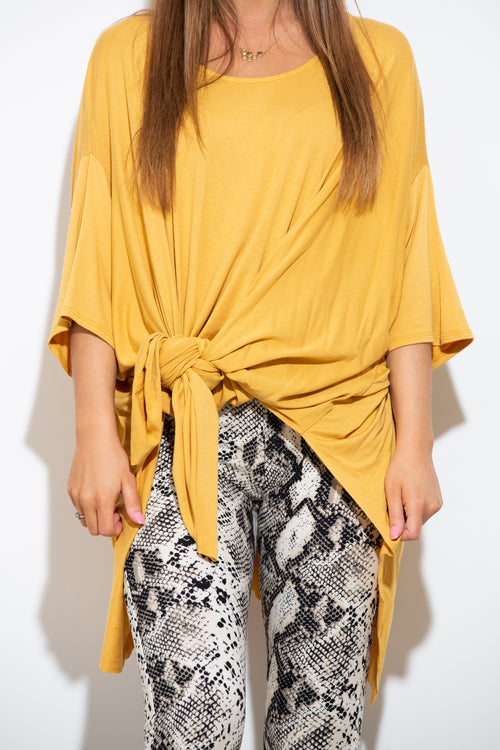 Pass On By Yellow Poncho Top