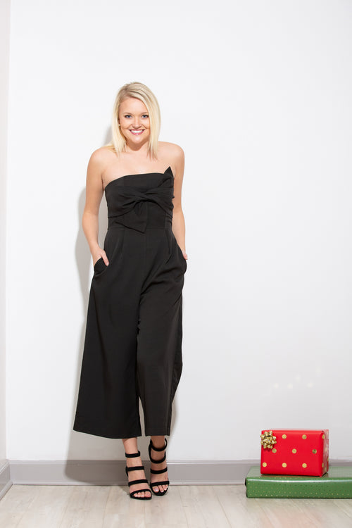 Standing Ovation Black Bow Jumpsuit