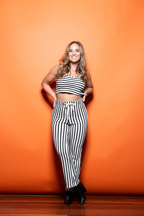 Out Of Office Black & White Two Piece Stripe Set - impromptu boutique