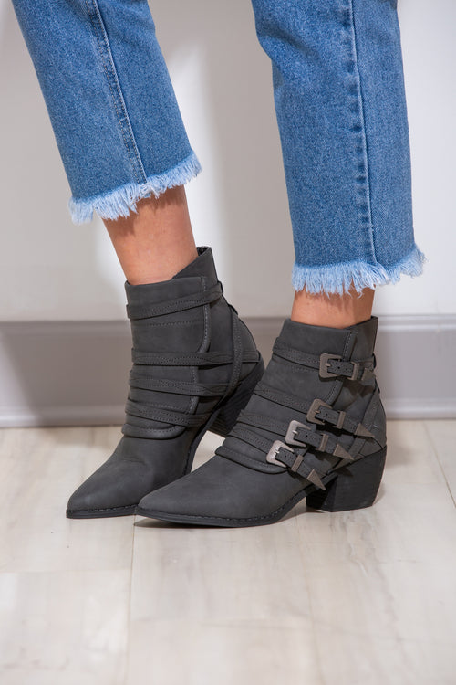 Kaitlyn Black Buckle Booties - impromptu boutique