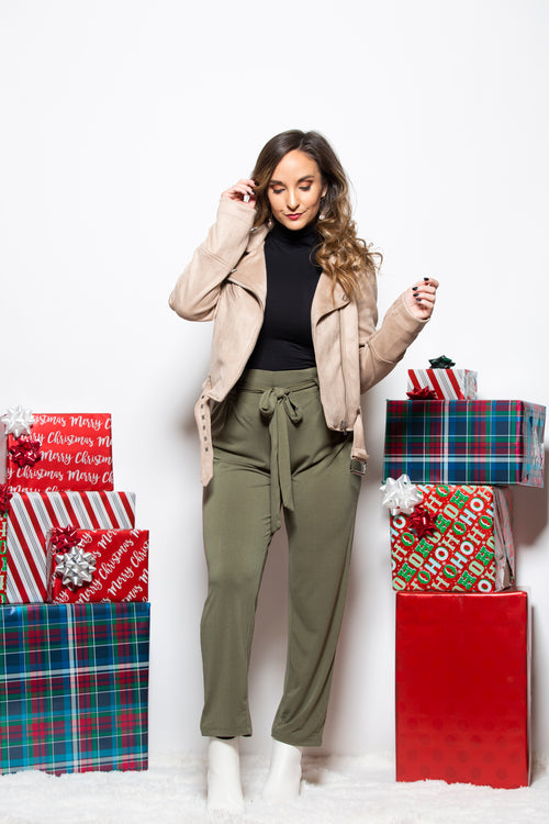 With Confidence Paper Bag Waist Pants: Olive