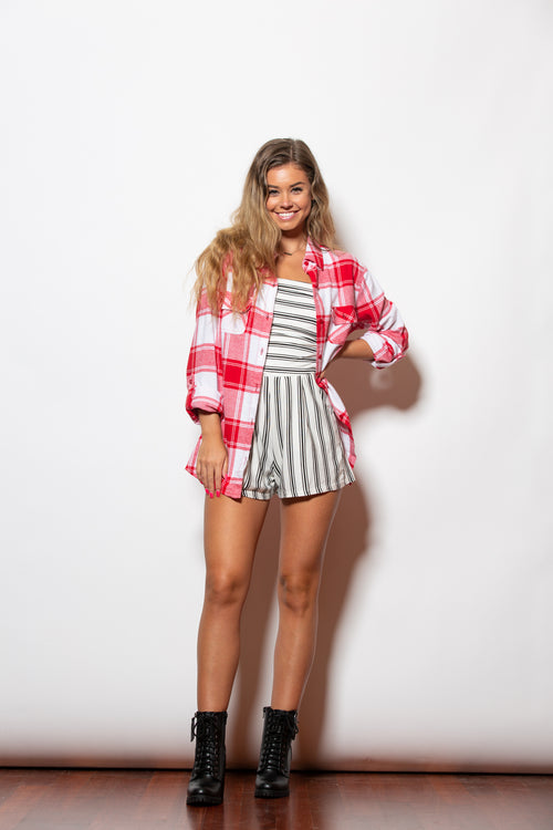 Give And Take Red & White Flannel - impromptu boutique