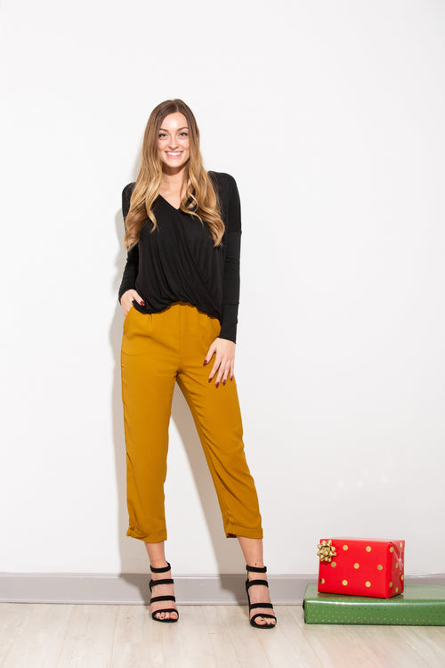 On The Run Mustard Cropped Pants