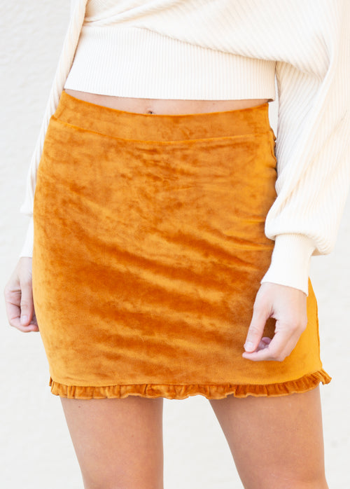 One More Time Pumpkin Velvet Mini Skirt - impromptu boutique