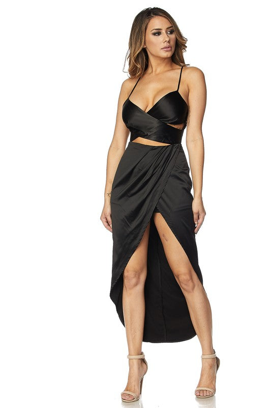 Kiss Me At Midnight Satin Maxi - impromptu boutique
