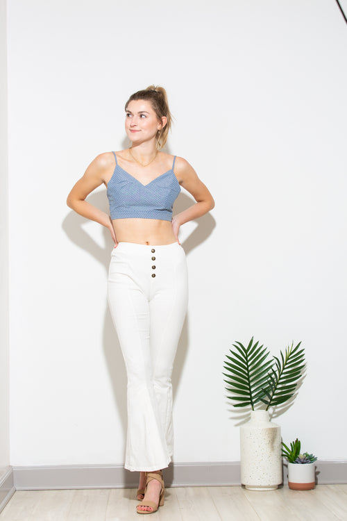 Good Things Are Coming Blue Polka Dot Crop - impromptu boutique