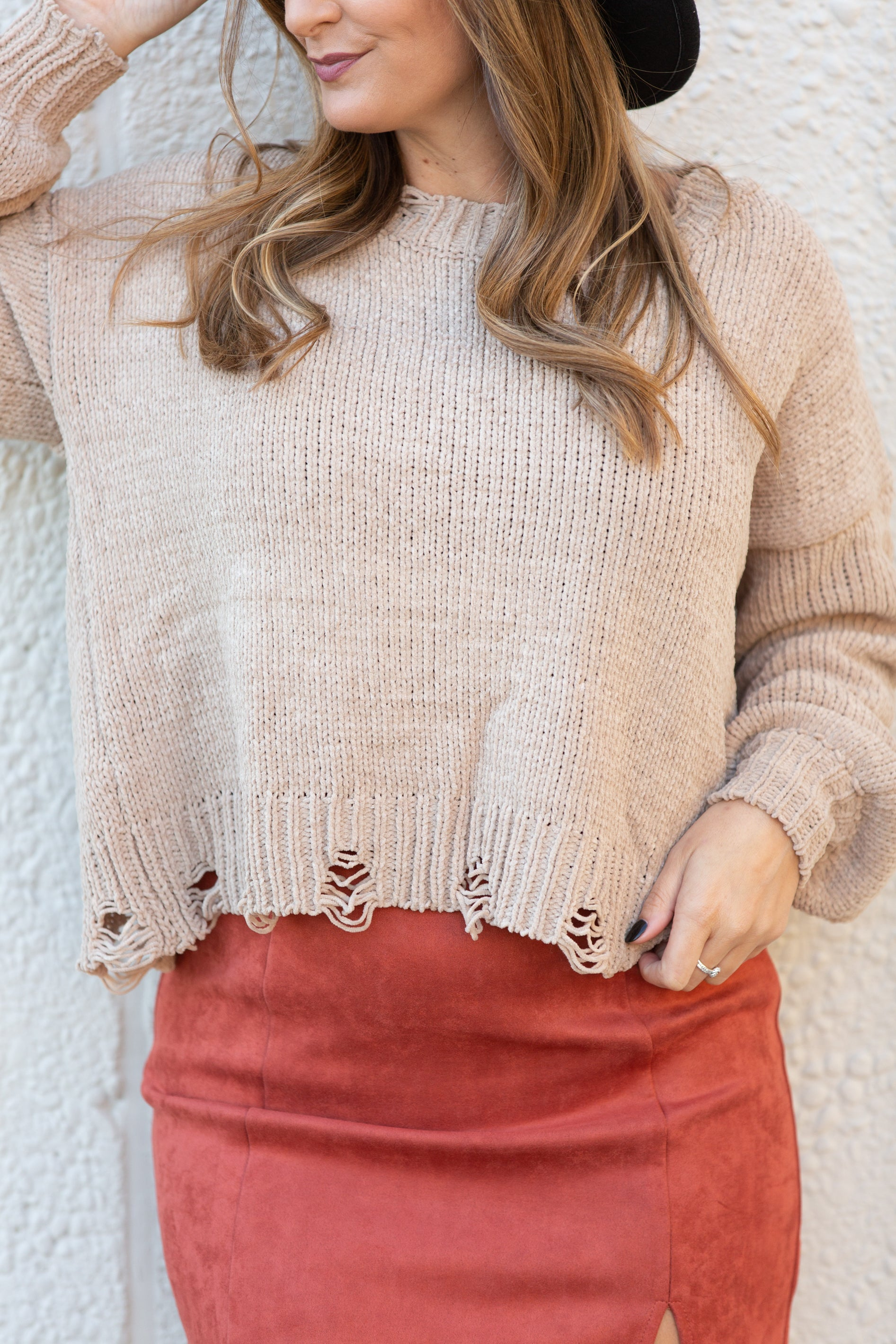 Give A Little Distressed Taupe Sweater