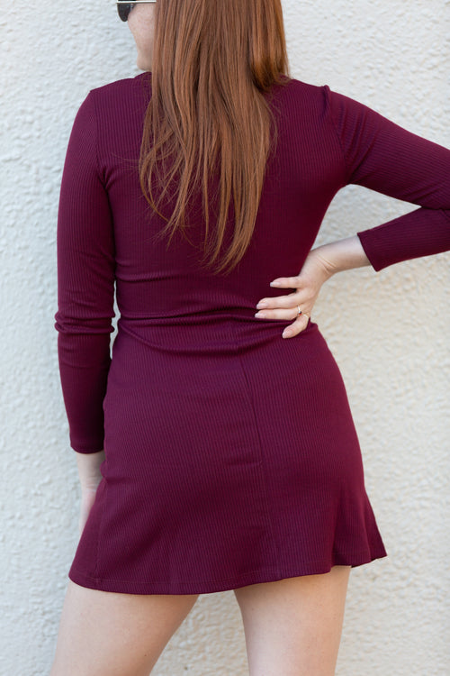 Sweet Talk Burgundy Long Sleeve Dress - impromptu boutique
