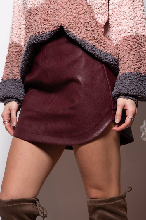 Can't Deny It Leather Skirt: Burgundy