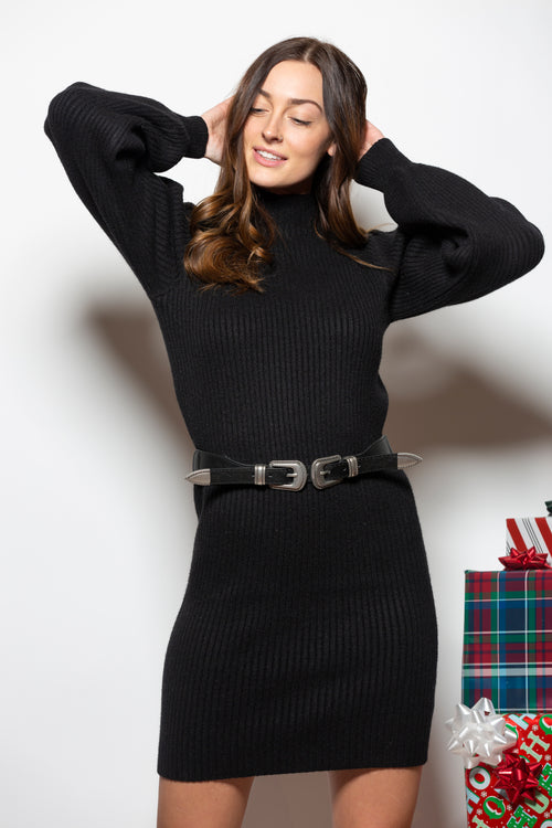 Waiting For You Sweater Dress: Black - impromptu boutique