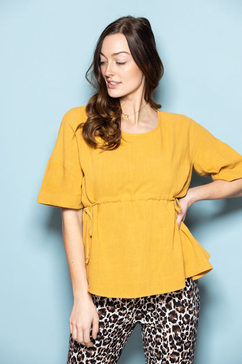 Finally With You Yellow Linen Top - impromptu boutique