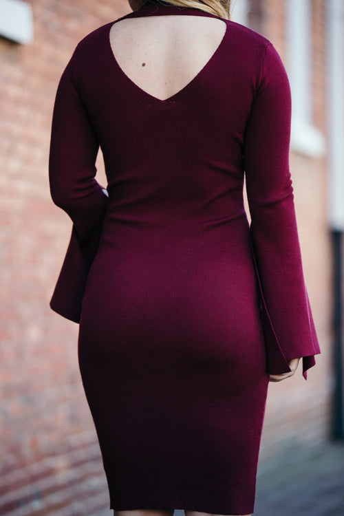 Showcase Burgundy Bell Sleeve Dress