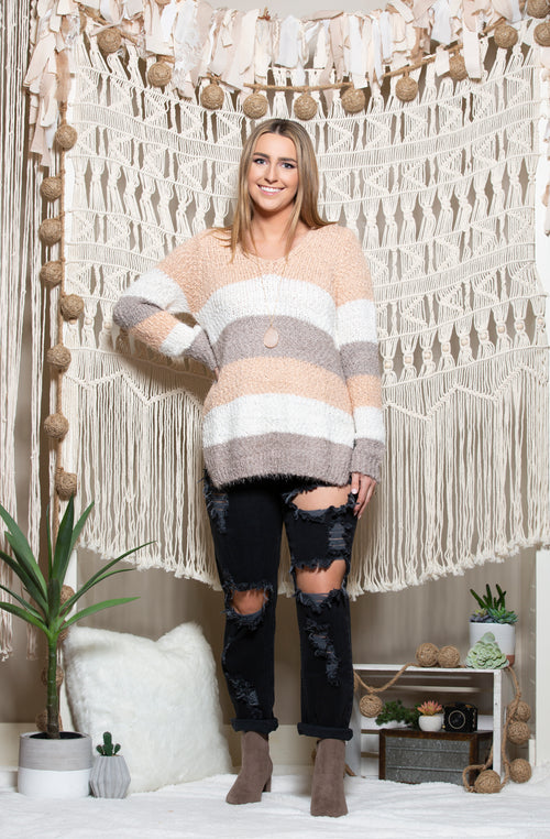 Be Mine Blush Colorblock Sweater