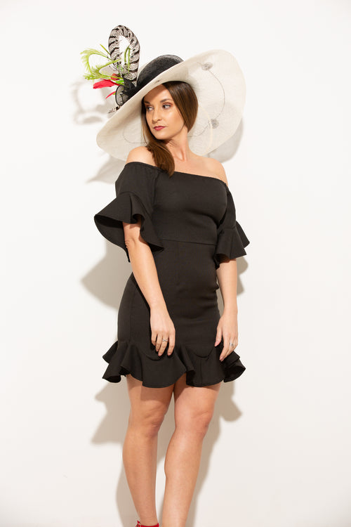 Playing For Keeps Black Ruffle Dress