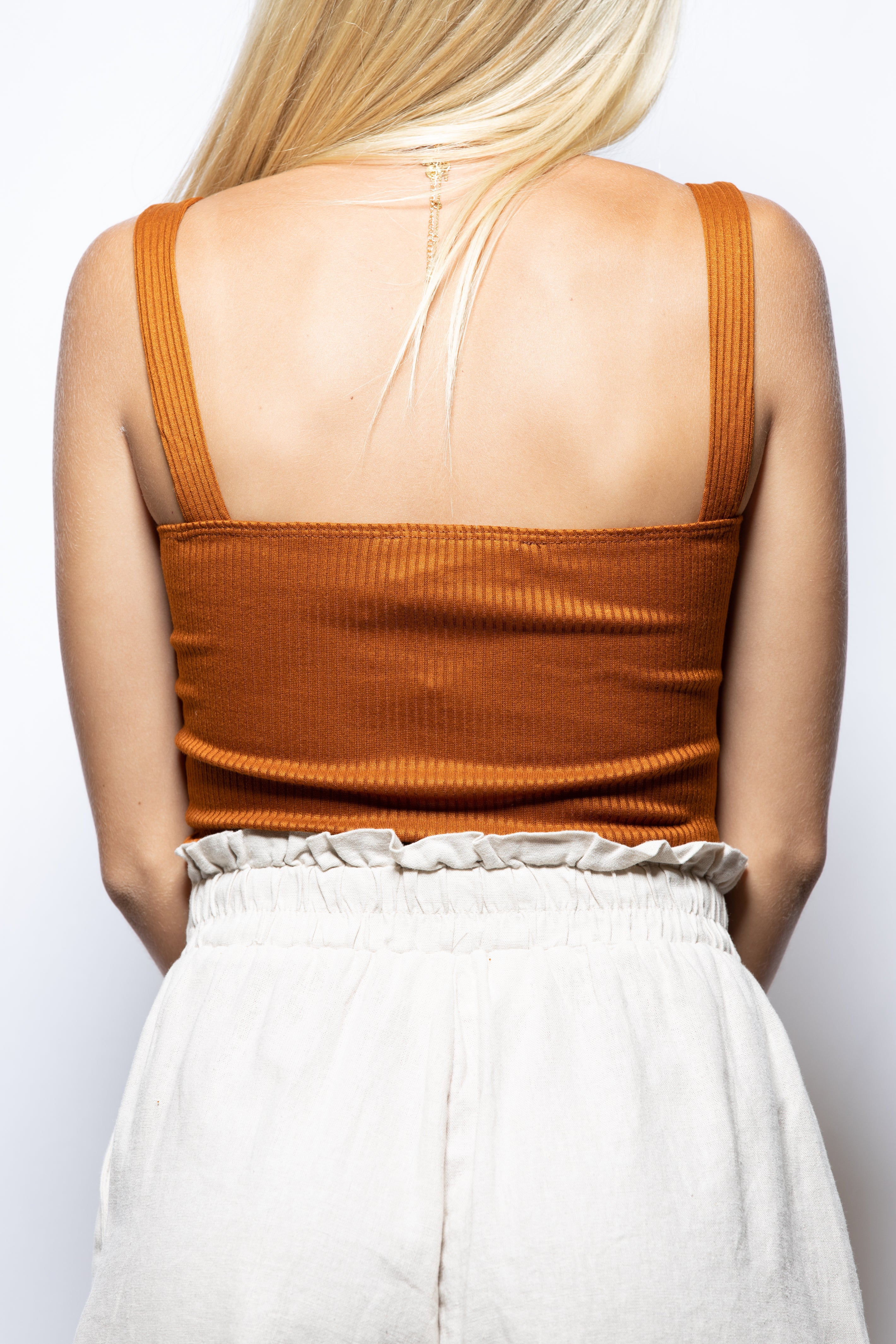Get Together Ribbed Grommet Tank: Ginger