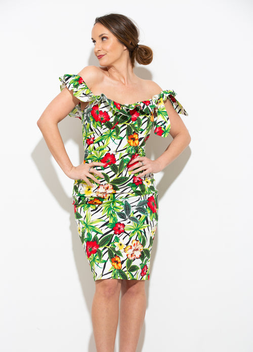 Here For A Good Time Tropical Dress - impromptu boutique