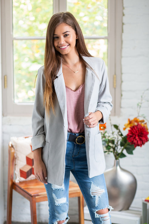 Worth The Wait Grey Boyfriend Blazer