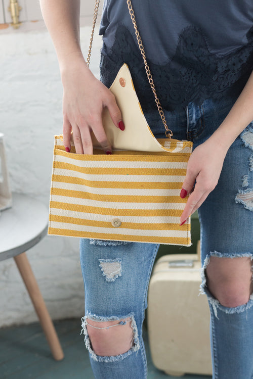 Barcelona Stripe Clutch - impromptu boutique