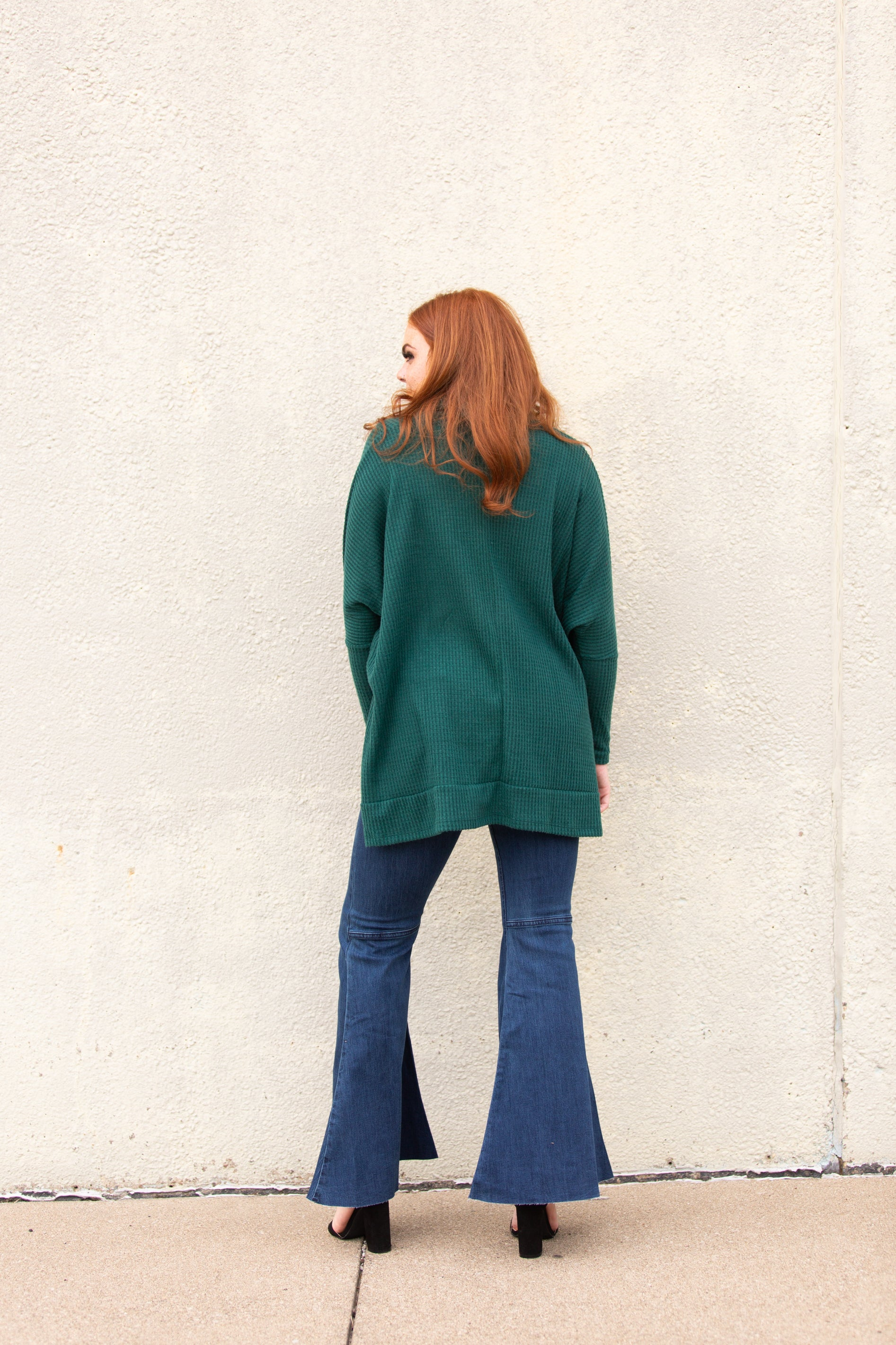 Feelings For You Emerald Cowl Neck Poncho Sweater - impromptu boutique