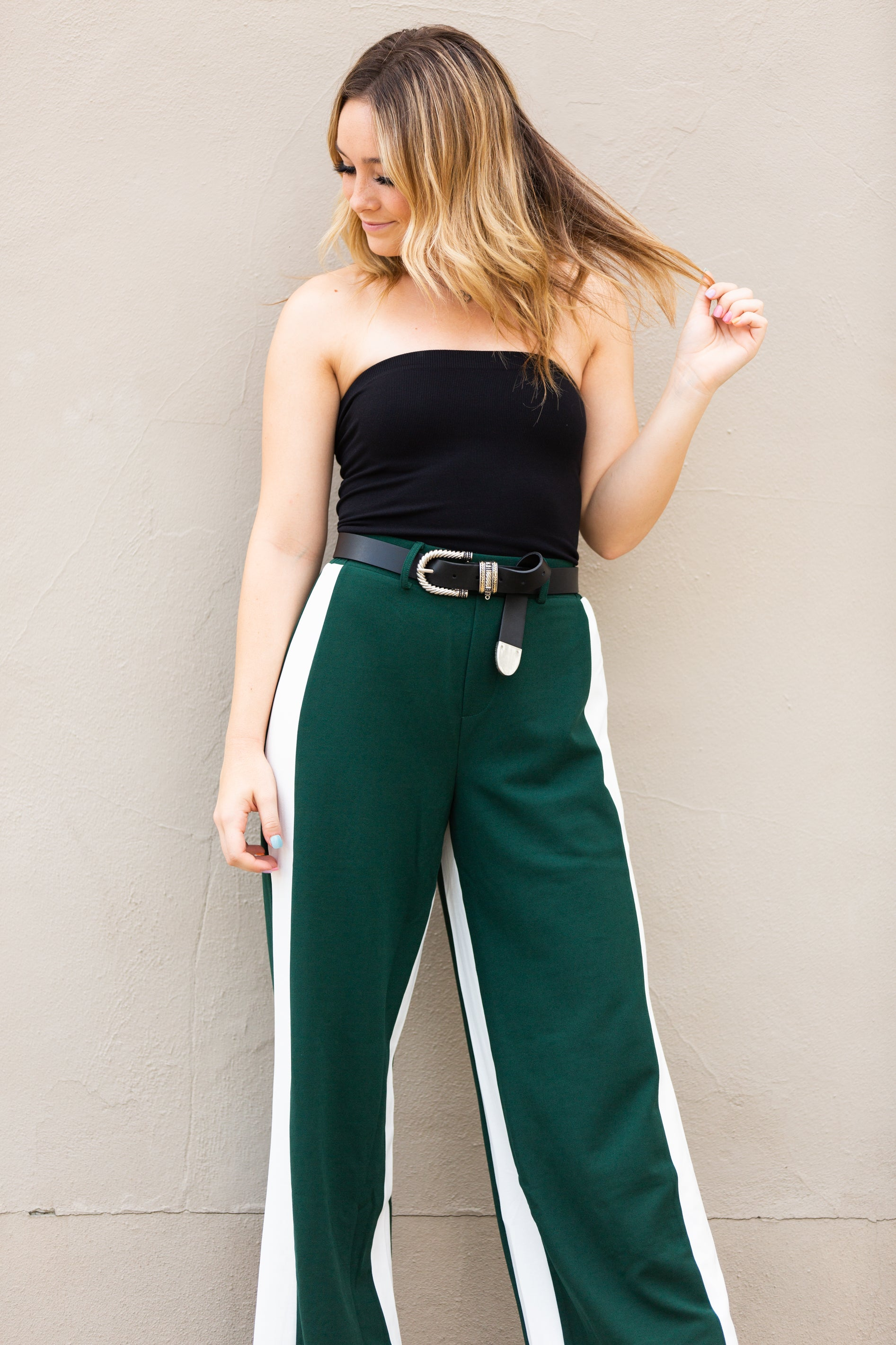In The Moment Hunter Green Wide Leg Pants - impromptu boutique