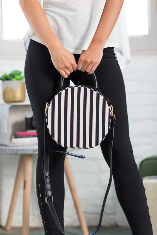 Capetown Black and White Stripe Bag - impromptu boutique