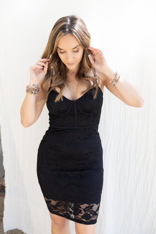 Give It Your All Black Lace Mini Dress