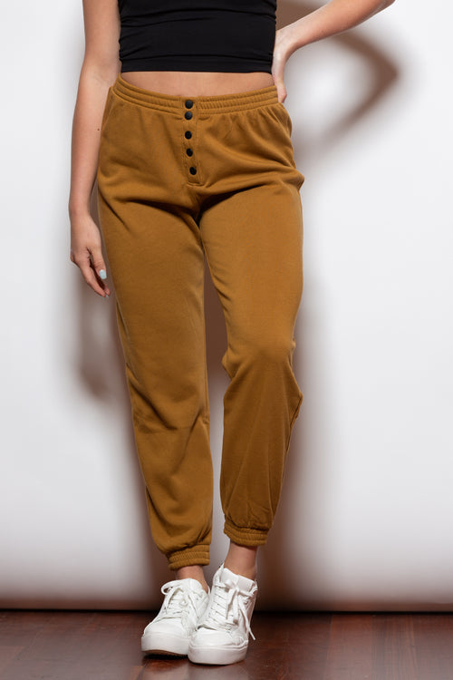 Button Me Up Mustard Joggers - impromptu boutique