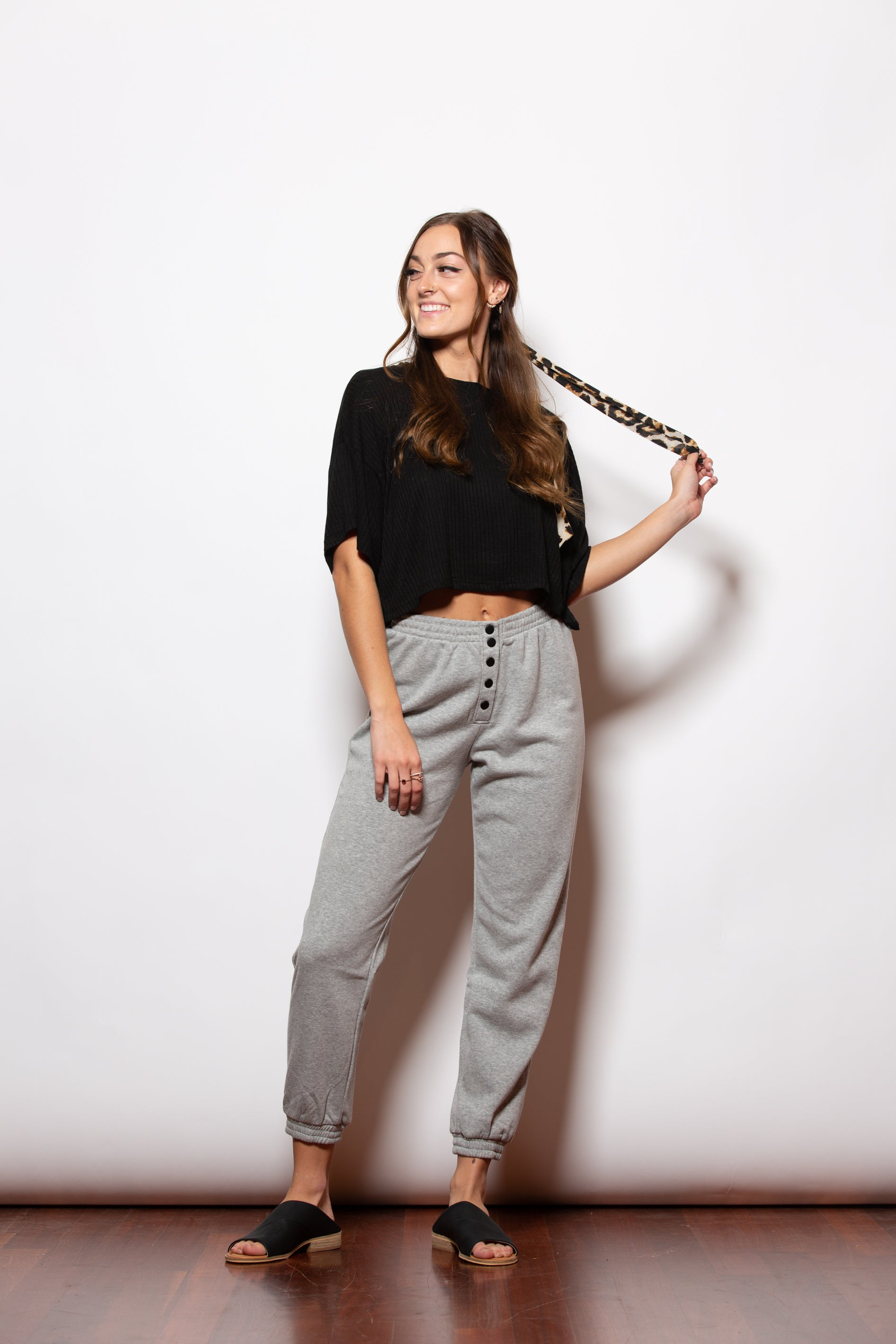 Button Me Up Grey Joggers - impromptu boutique