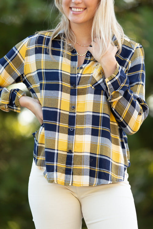 Break Away Navy & Yellow Plaid Button Down - impromptu boutique