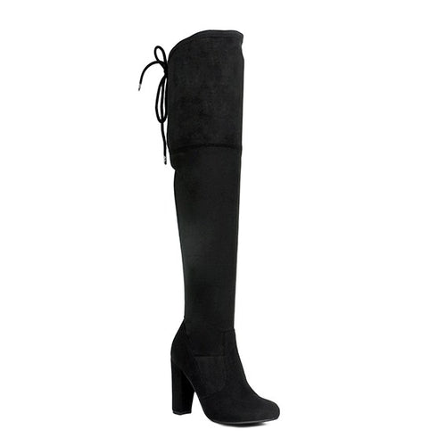 Caught In The Moment Over The Knee Black Suede Boots