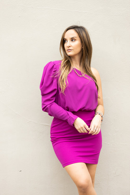 Best Guess Magenta One Shoulder Dress