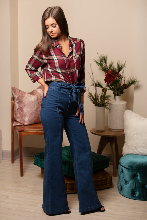Just A Girl Plaid Button-Up Top - impromptu boutique