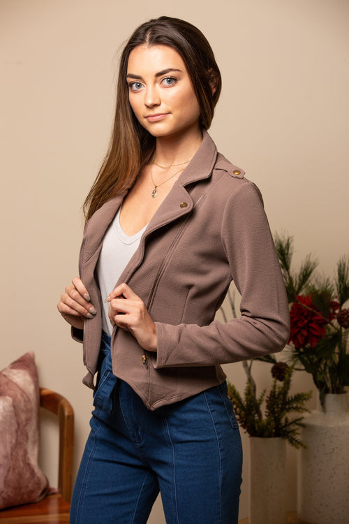 High Priority Textured Mocha Jacket - impromptu boutique