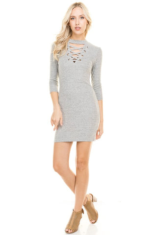 Gracefully Yours Ribbed Sweater Dress