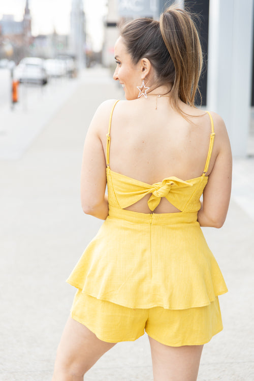 Let You Go Ruffled Linen Romper: Yellow - impromptu boutique