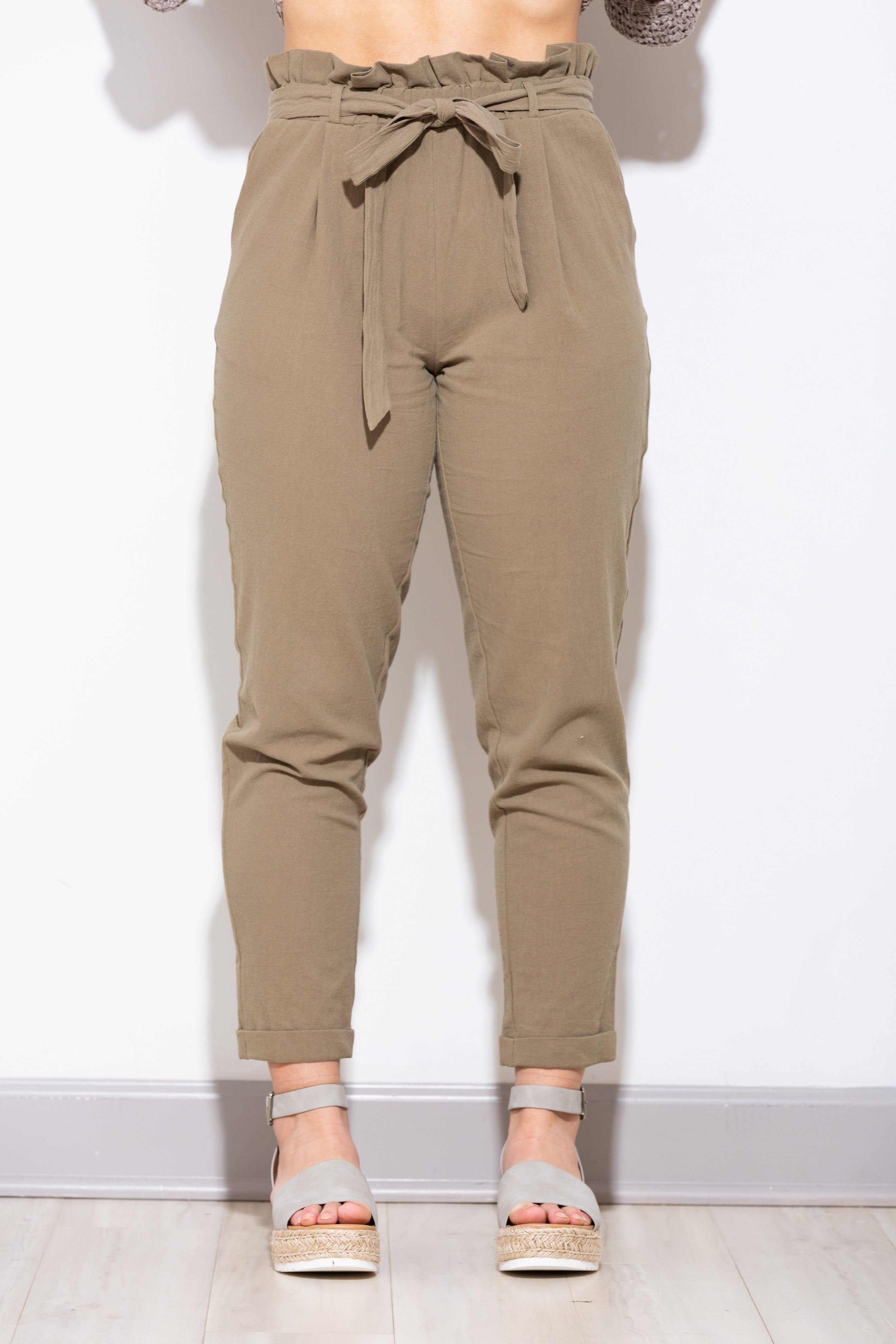 Close To You High-Waisted PaperBag Olive Pants - impromptu boutique