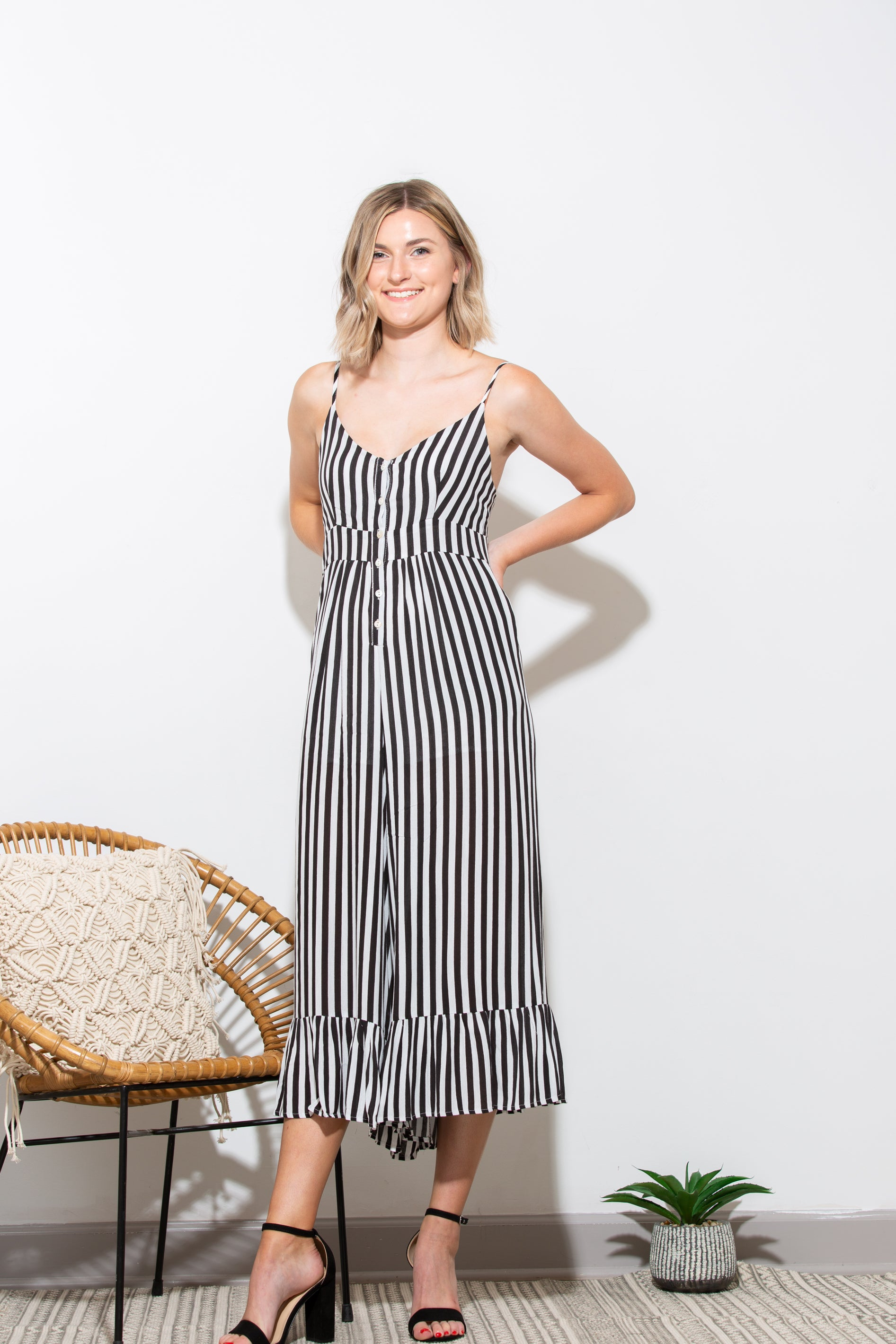 True Love Black And White Stripe Jumpsuit - impromptu boutique
