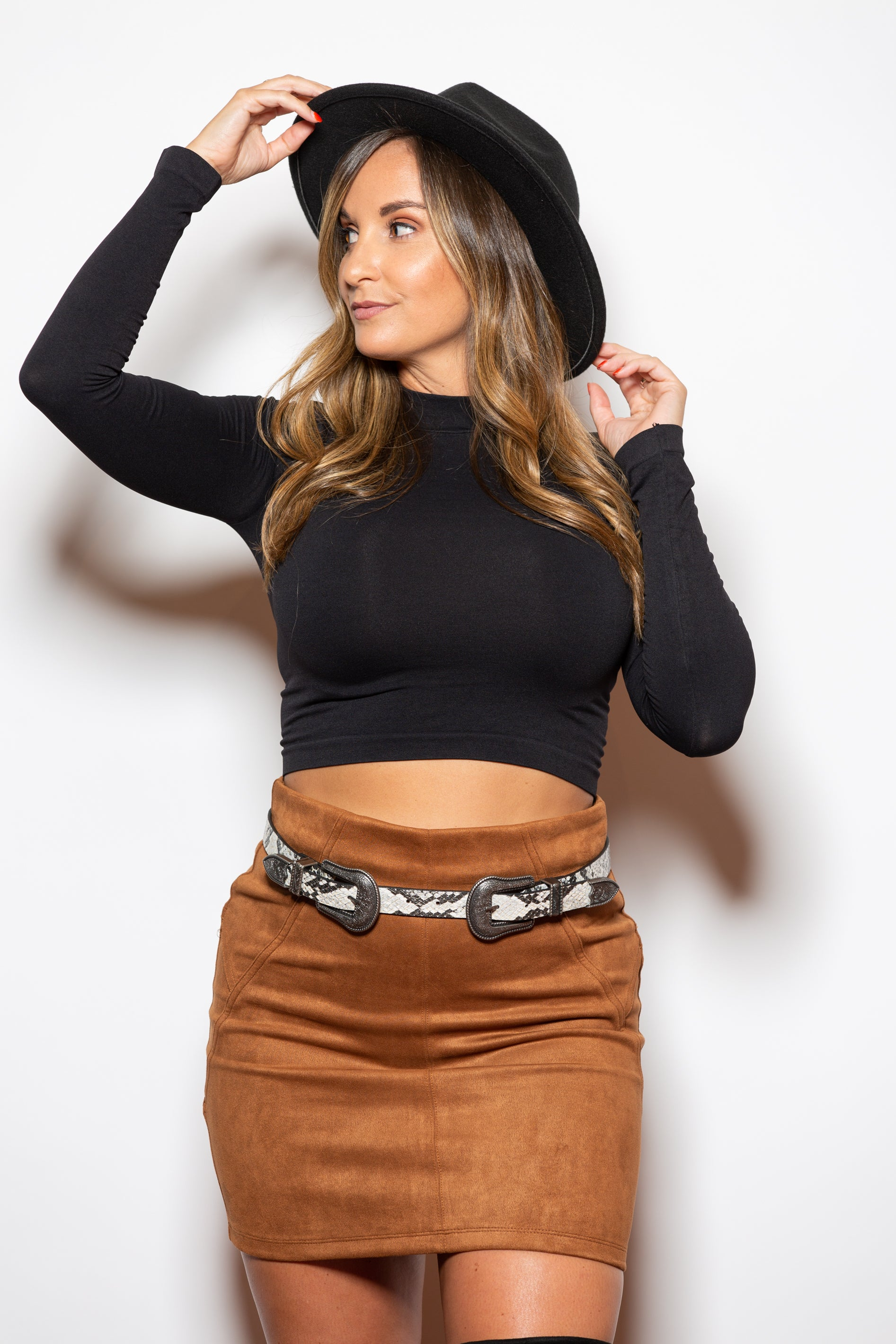 Forgive & Forget Camel Suede Mini Skirt