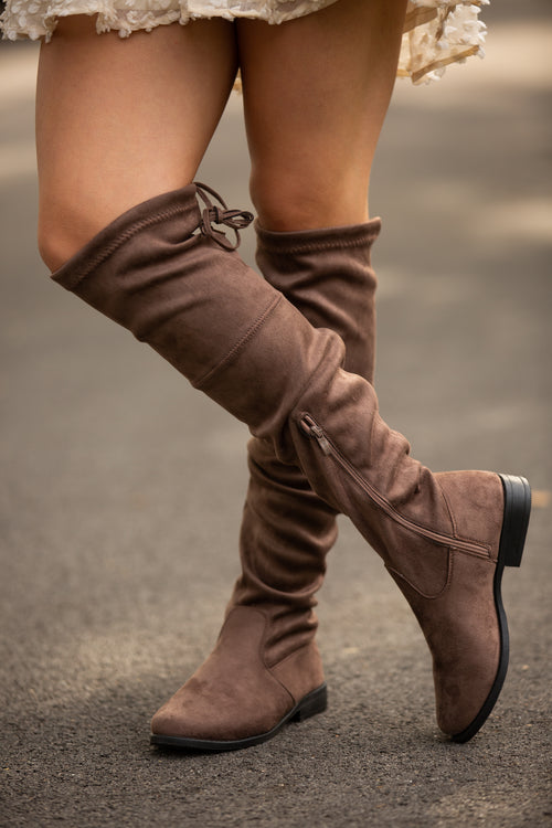 Taylor Suede Over-The-Knee Taupe Boots - impromptu boutique