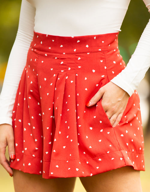 Oh Pleats Red & White High-Waist Shorts - impromptu boutique