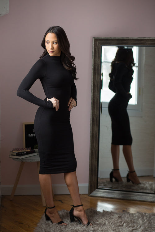 Rumor Has It Black Midi Dress - impromptu boutique